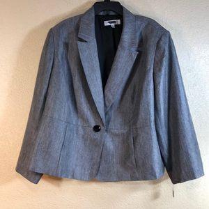 Jones Studio Blazer Jacket Gray Black Size 24W